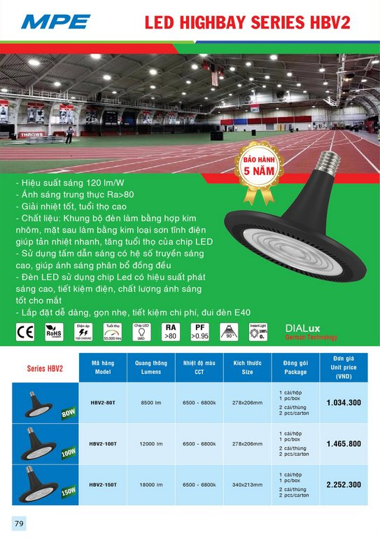 Bảng giá đèn chiếu sáng MPE