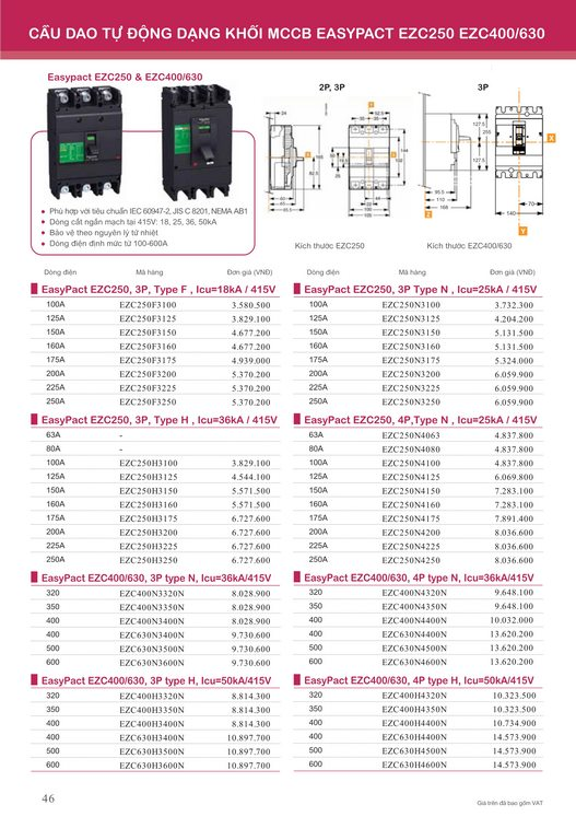 Catalogue và bảng giá thiết bị điện Schneider