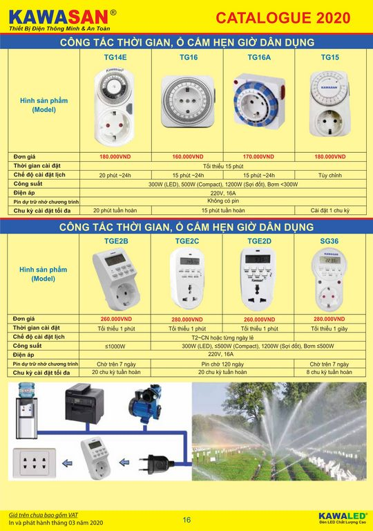 Bảng giá thiết bị điện thông minh KAWASAN