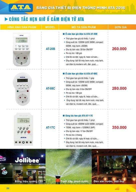 Bảng giá thiết bị điện thông minh ATA