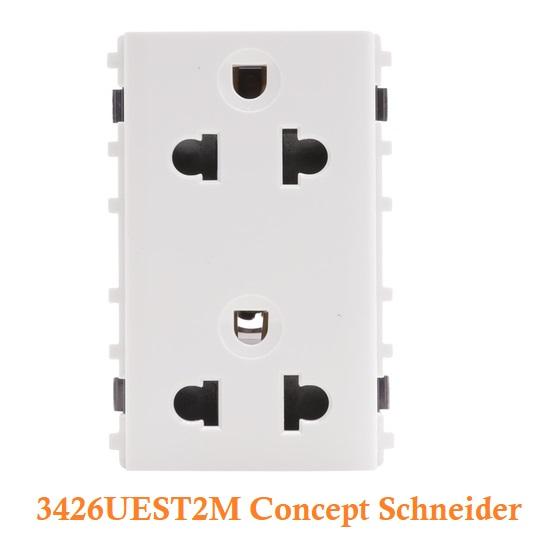 Ổ cắm điện đôi ba chấuSchneider3426UEST2M